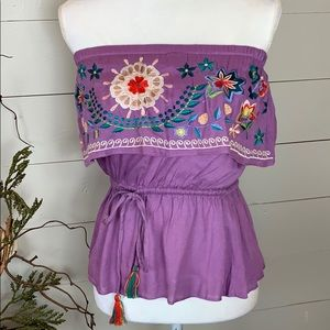 Chelsea & Violet Strapless Ruffle Embroidered Top